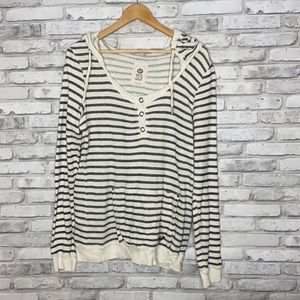 Women's Roxy Terry Cloth Hooded Striped Top